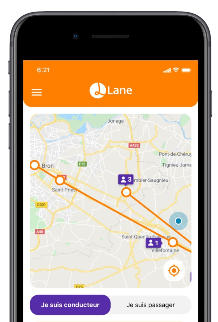 Application Lane - Conducteur ou passager