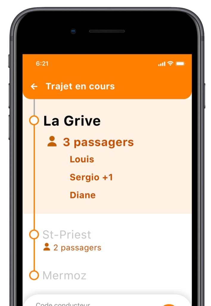 Application Lane - Passagers sur trajet conducteur
