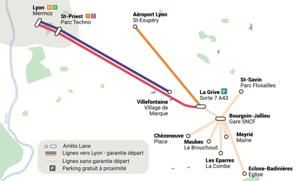 Plan des lignes de covoiturage sans réservation Lane  entre Bourgoin-Jallieu Villefontaine et l'aéroport Saint Priest et Lyon